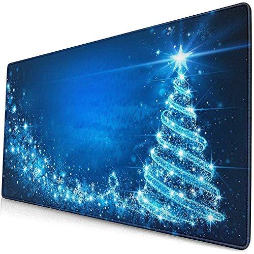 Blaues Weihnachtsbaum-Entwurfs-Muster XXL XL Große Spiel-Mausunterlage Lange ausgedehnte Mousepad Schreibtischunterlage