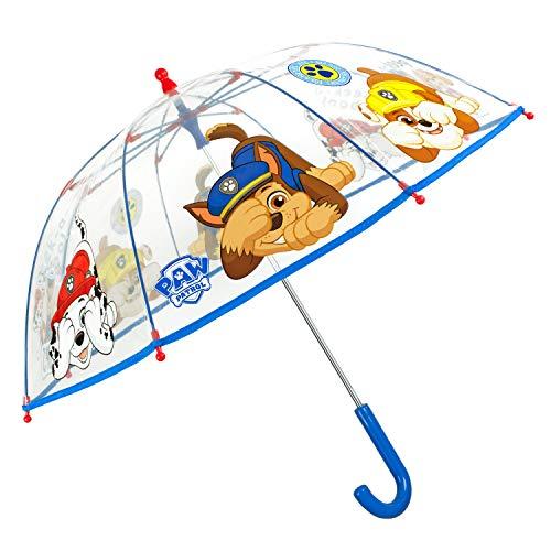 Paw Patrol Regenschirm Transparent Blau Rot - Durchsichtig Kinderschirm Marshall Chase Rubble Skye Kuckuck - Kinder Schirm Windfest Sturmsicher Jungen 3 4 5 6 Jahre - Durchm 64 cm - Perletti (Rot)