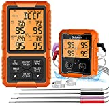 Wireless Meat Thermometer, Guichon Digital Meat Thermometer, 4 Probes Food Thermometer for BBQ, Grill, Oven, Smoker, Grill Thermometer with 500FT Remote Range