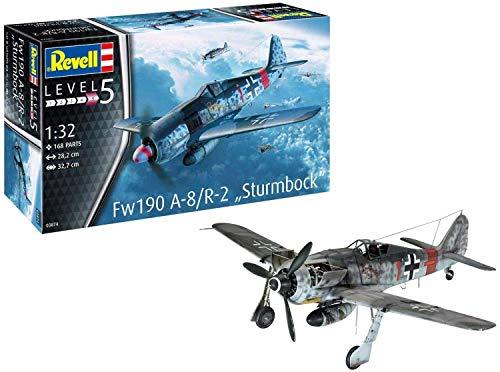 Revell REV-03874 Fw190 A-8/R-2 Sturmbock, Flugzeugmodellbausatz 1:32, 28,2cm Modelmaking, unlackiert, 1/32