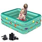 Home Style Collection Aufstellpool Pool Babypool Planschbecken Kinderpool Kinderplanschbecken mit aufblasbarem Boden für Kind-er Terrasse Balkon Garten/Grün / 180x130x60cm
