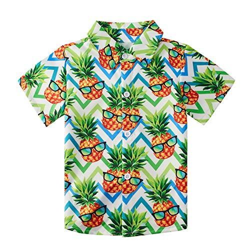 uideazone Toddler Boys Purple Pineapple Cartoon Print Shirts Children's Short Sleeve Polo Shirt Hawaiian Party Wear Clothing (Size 7-8T)