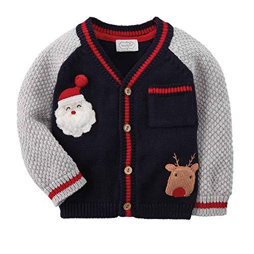 Mud Pie Boy Infant Christmas Cardigan (6-9 Months) Blu