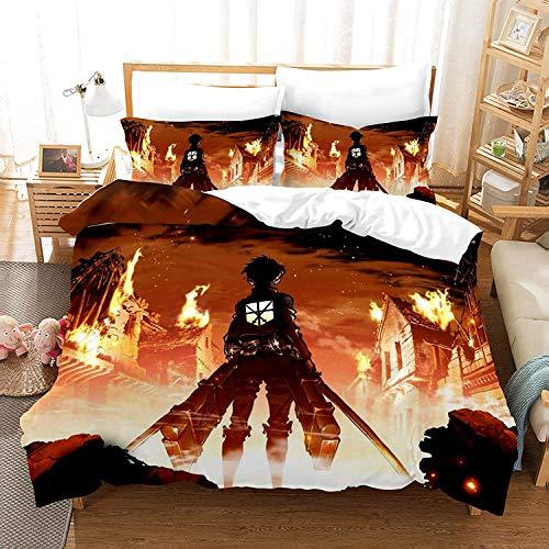 3 Pcs Anime Attack On Titan Bedding Set, Full Size 3D Survey Corps Duvet Cover Bed Set Lightweight Breathable Comforter Cover for Kids Boys Girls Anime Fans Gifts (AOT9,Full(79'x90'))