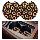 Tifanso 2 Pack Car Coasters for Drinks Absorbent - 2.75 inch Car Cup Holder Coasters, Removable Car Coasters for Women, Sunflower Rubber Car Drink Coasters, Cute Car Accessories for Women and Lady