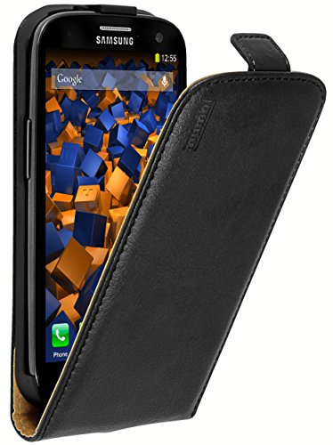mumbi PREMIUM Cuir véritable Housse Samsung Galaxy S3 - Coque Étui Galaxy SIII Etui Protecteur Flip Style Noir