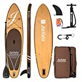 jolldo Inflatable Stand Up Paddle Board 10'6'×31'×6' Ultra-Light SUP Non-Slip Deck w Paddle, Pump, Backpack, Leash, Waterproof Case, Repair kit, Wood