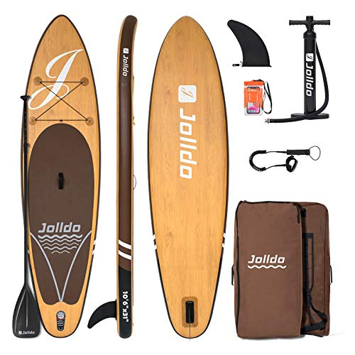 jolldo Inflatable Stand Up Paddle Board 10 6 ×31 ×6  Ultra-Light SUP Non-Slip Deck w Paddle, Pump, Backpack, Leash, Waterproof Case, Repair kit, Wood