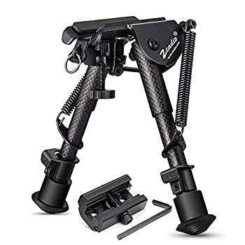 Zeadio 6-9 Inches Carbon Fiber Tactical Bipod Spring Return Bipod with Sling Mount and 20mm Picatinny Weaver Rail Mount