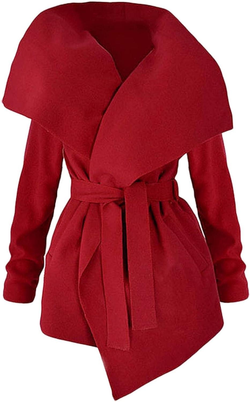 BEUU Women's Turn Down Shawl Collar Grid Coat Belted Wool Blend Coat Asymmetric Hem Wrap Coat Outwear Trench Coat