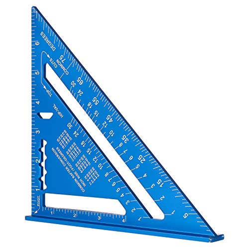 7 Inch Triangle Ruler, Blue Triangle Ruler, High Precision Aluminum Alloy Triangle Ruler,Layout Measuring Tool for Engineer Carpenter (Imperial)