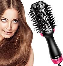 Hair Dryer Brush and Hot Air Brush, Bvser Air Hair Brush 3 in 1 One Step Hair Dryer and Styler Volumizer for Rotating Straightening, Curling, Salon Negative Ion Ceramic Blow Dryer Brush - Black Red