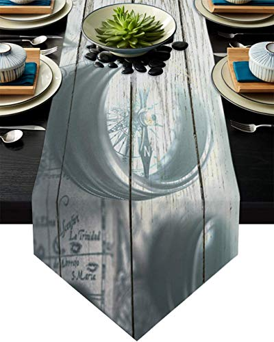 COMMER Camino de mesa, brújula náutica retro, bufandas para aparador, decoración de mesa para bodas, ceremonias de graduación/banquete (33 x 228 cm)