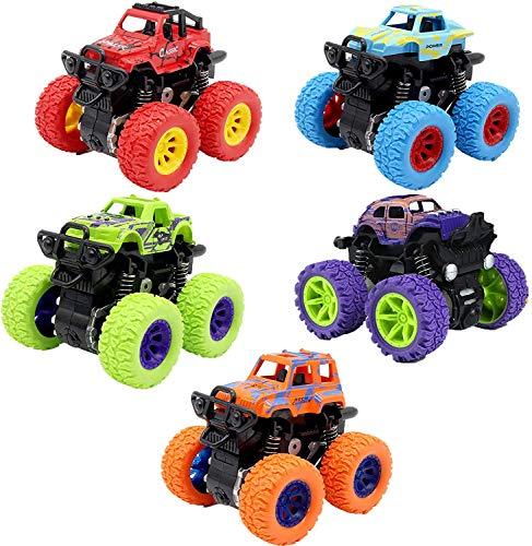 HXHAY Paquete de 5 Juguetes de Monster Truck para niños y niñas, Auto de inercia de rotación de 360 Grados Autos de Juguete educativos, Autos de Juguete, Regalo de cumpleaños para niños