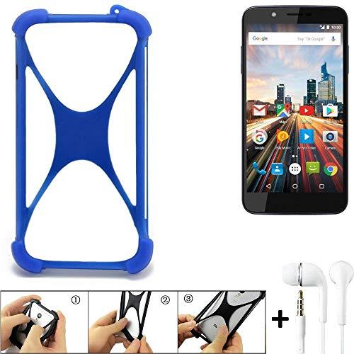 K-S-Trade® Handyhülle Für Archos 55 Helium 4Seasons Bumper Schutzhülle Silikon Schutz Hülle Cover Case Silikoncase Silikonbumper TPU Softcase Smartphone, Blau (1x), Headphones