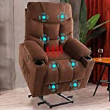 B BAIJIAWEI Power Lift Recliner Chair, Fabric Electric Recliner with Vibration Massage & Heat Function, Heavy Duty Recliner with Remote Control, 3 Positions, USB Port