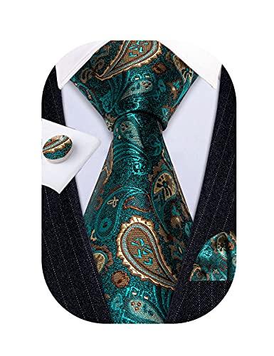 Barry.Wang Mens Paisley Tie Silk Emerald Green Plain Necktie with Hnadkerchief Cufflinks Formal Wedding