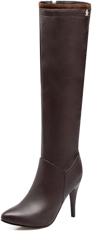 SaraIris Women PU Thin Heels Velvet Zipper Daily Appointment Boots