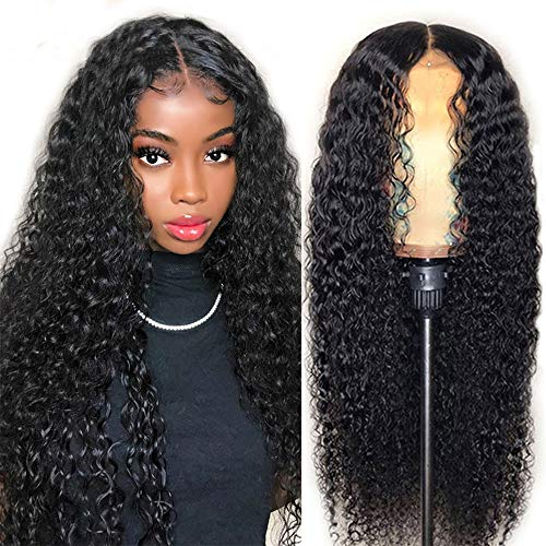 Curly Lace Front Wigs Human Hair Wigs For Black Women T Shape Middle Part Deep Wave Lace Front Wig Virgin Hair 150% Density Pre Plucked With Baby Hair Full ...