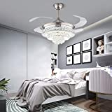 Ventilatore da soffitto retrattile con lampada, luce ventola, moderno e invisibile, ventilatori da soffitto, per camera da letto, lampadario in cristallo argento CCT dimmerabile con telecomando