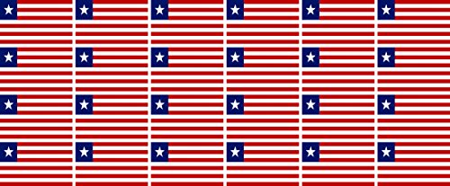 Mini Aufkleber Set - Pack glatt - 33x20mm - Sticker - Liberia - Flagge - Banner - Standarte fürs Auto, Büro, zu Hause & die Schule - 24 Stück
