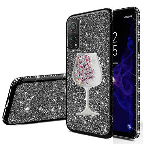 Nadoli für Xiaomi Mi 10T Glitzer Hülle,Kristall Diamant Strass Bumper mit 3D Fließend Flüssig Treibsand Weinglas Silikon Handyhülle Frauen für Xiaomi Mi 10T