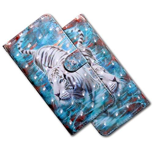 MRSTER Moto G6 Play Handytasche, Leder Schutzhülle Brieftasche Hülle Flip Hülle 3D Muster Cover mit Kartenfach Magnet Tasche Handyhüllen für Motorola Moto G6 Play/Moto E5. BX 3D - White Tiger