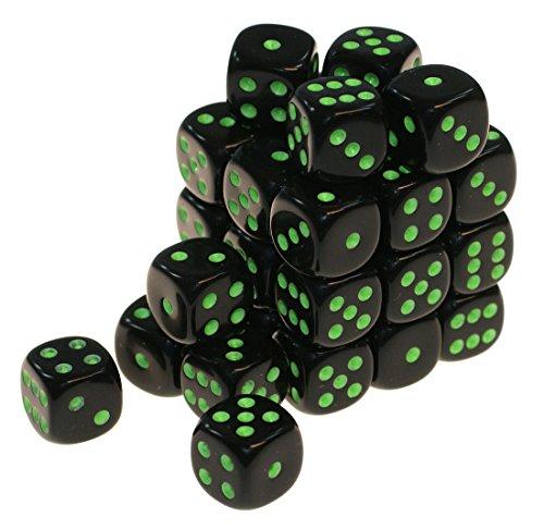 Würfelzeit 7651 Würfel w6 12 mm Combatt schwarz grüne Aufschrift 32er Set in Klarsichtbox