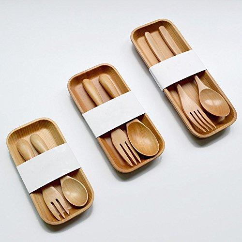 KAIMO 3pcs/Set sencillo de madera cuchara y tenedor vajilla plato portátil para niño sano Picnic de madera vajilla Set, madera, ?20.5*8cm ??18.5*3.5cm???19*2.5cm