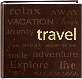 Pioneer Travel Text Design Sewn Faux Suede Cover Photo Album, Brown