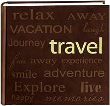 """Pioneer álbum de fotos""""Travel"""" com design de texto em camurça sintética costurada, marrom"""
