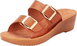 Cambridge Select Women's Retro 70s Two-Strap Buckled Chunky Platform Slip-On Slide Wedge Sandal