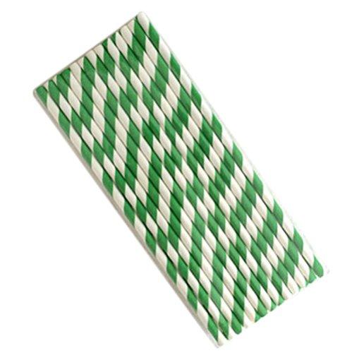 Demarkt papieren rietjes biologisch papier rietjes voor verjaardag feesten party's groene strepen vorm