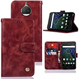 Moto G5S Plus Case, Moto G5S Plus Case for Girls, Zoeirc PU Leather Wallet Flip Protective Phone Case Cover with Card Slots and Stand for Motorola Moto G5S Plus (2017) (WineRed)