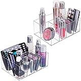 mDesign Juego de 2 cajas transparentes para cosméticos – Organizador de maquillaje con 5 compartimentos – Prácticas cajas de plástico para productos de belleza – transparente