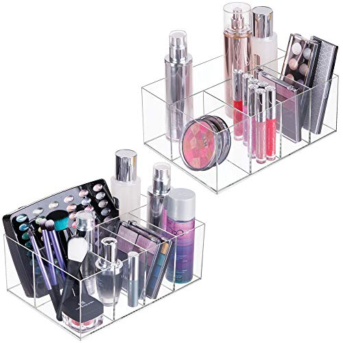 mDesign 2er-Set Kosmetik Organizer – praktische Aufbewahrungsbox mit fünf Fächern für Make-up, Nagellack und Beautyprodukte – nützliche Schminkaufbewahrung – durchsichtig
