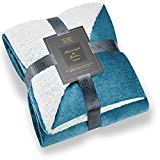Hyde Lane Lightweight Sherpa Throw Blanket for Couch   2 Way Reversible - Sherpa & Soft Fleece Cute Teal Blanket Throw with Fuzzy Faux Fur (Peacock Blue, 50 x 60)