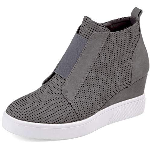 Victoy Damen Plateau Keilschuhe Knöchelabsatz Mode Sneakers Booties, Grau - grau - Größe: 43 EU