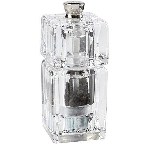 Cole & Mason Moulin À Poivre Mini Cube 90 MM, Acrylique, Transparent