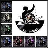 FDGFDG DJ Rock Music Party Disco de Vinilo Reloj de Pared DJ Disco Discoteca Reloj de Arte Hecho a Mano