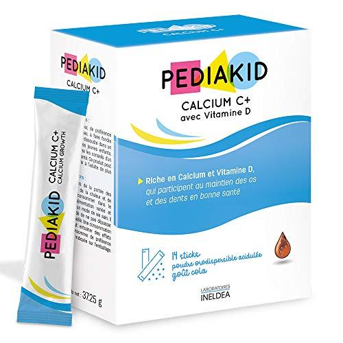 PEDIAKID - Calcium C+ et Vitamine D - Complément Alimentaire Naturel - Couvre 100% des AJR en Calcium - Maintien du Capital Osseux et Dentaire - Goût Cola - 14 Sticks de Poudre Orodispersible