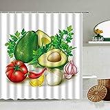 AETTP Frisches Obst Und Gemüse Muster Duschvorhang Tomaten Kürbis Weißer Hintergr& Design Badezimmer Dekoration wasserdichte Gardinen 180 * 180cm
