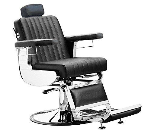 Comair 7001134 Diplomat Professioneller Herren Friseurstuhl im modernen Retro Design, schwarz