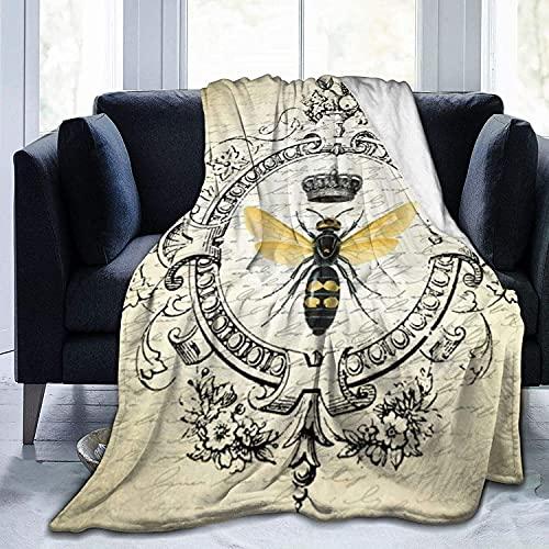Coperta ultra morbida in micro pile, resistente, stile vintage, moderna, con ape regina francese, morbida e calda, per letto, letto, divano, ufficio, soggiorno, casa, 127 x 152 cm