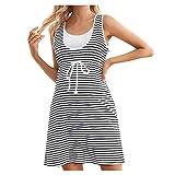 Vuncio Vestido de premamá de verano, a rayas, tallas grandes, sin mangas, minivestido de maternidad, estilo informal, largo a rayas, para el tiempo libre Blanco XL