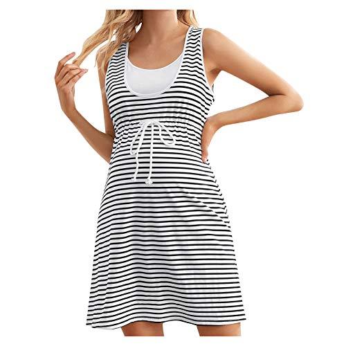 Vuncio Umstandskleid Sommer Gestreift Große Größen Ärmelloses Mini Kleid Damen Umstandsmode Schwanger Casual Langer Kleid Elegant Casual Streifen Freizeitkleidung (Weiß, XL)