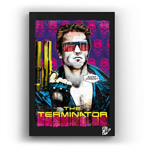 Arnold Schwarzenegger de la pelicula Terminator - Pintura Enmarcado Original, Imagen Pop-Art, Impresión Póster, Impresion en Lienzo, Cuadro, Cómics, Cartel de la Película