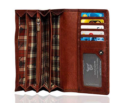 MATADOR Echt Leder Damen Geldbörse RFID Schutz Portemonnaie Frauen Langformat Vintage Braun inkl Geschenkverpackung