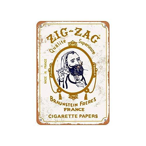 Fhdang Decor Zig-Zag Cartine per sigarette in alluminio look vintage, metallo, Multi, 8x12 inches