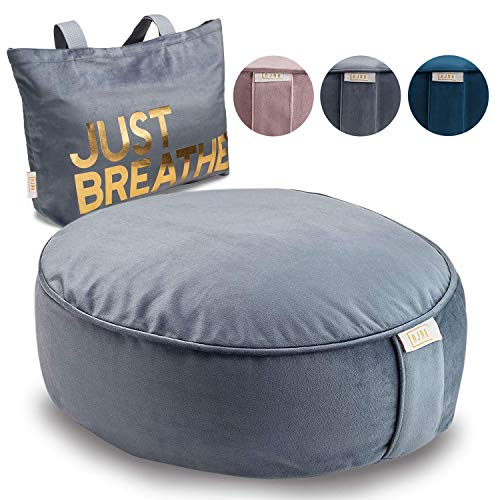 Ajna Meditation Cushion Yoga Pillow - Round Zafu Meditation Pillow - Velvet with Zippered Organic Cotton Liner to Add or Remove Hulls - Machine Washable - Free Carry Bag